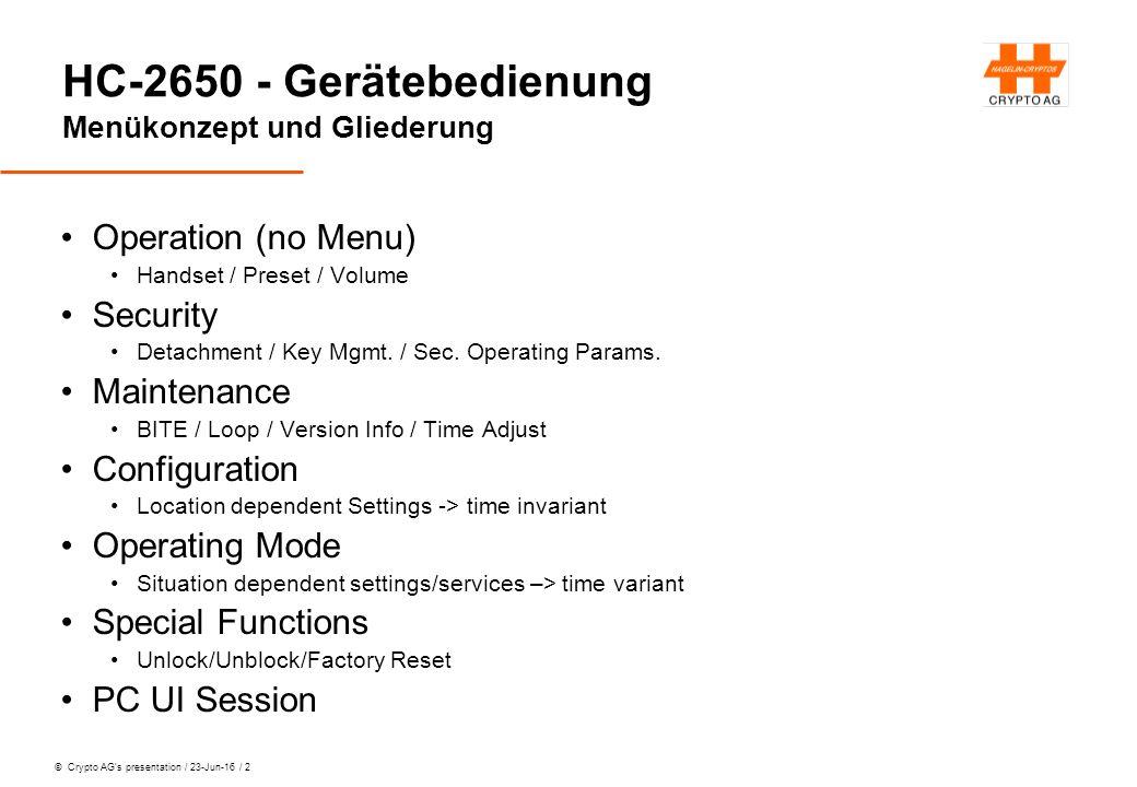 © Crypto AG's presentation / 23-Jun-16 / 13 HC-2650 - Gerätebedienung Lektion 3: Das Gerät im System Schnittstelle für Datenterminals Electrical Asynchronous data format Wie flöten wir ins Radio.