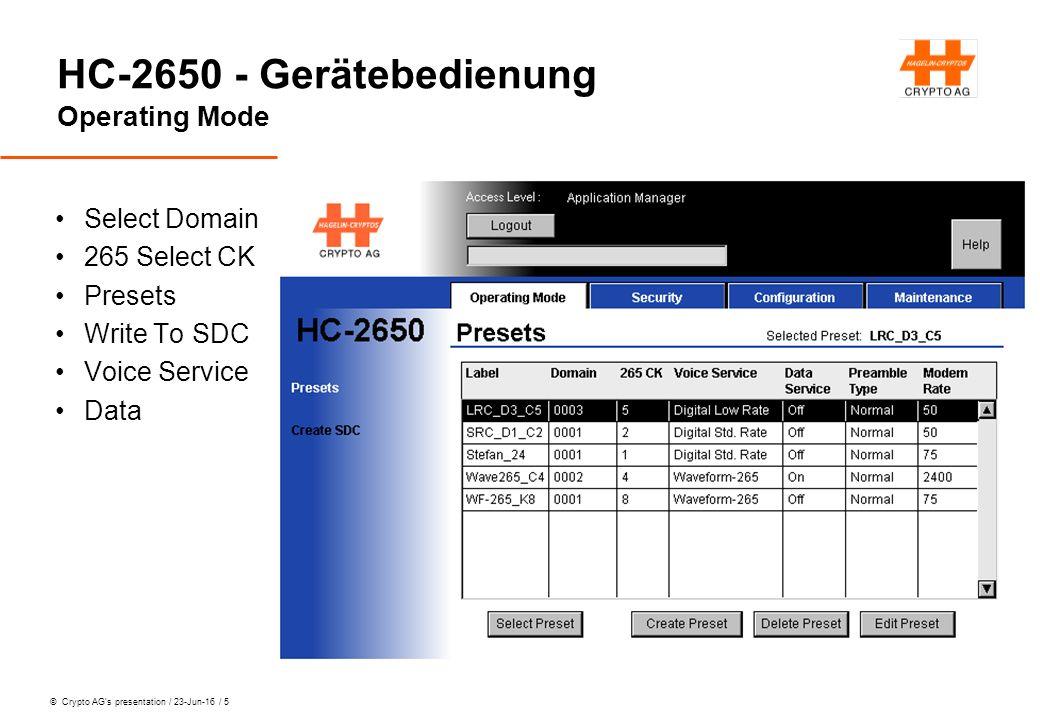 © Crypto AG's presentation / 23-Jun-16 / 6 HC-2650 - Gerätebedienung Configuration Data Interface Analog Link Interface Plain Voice Interface Remote Interface General Settings Reset IT Parameters