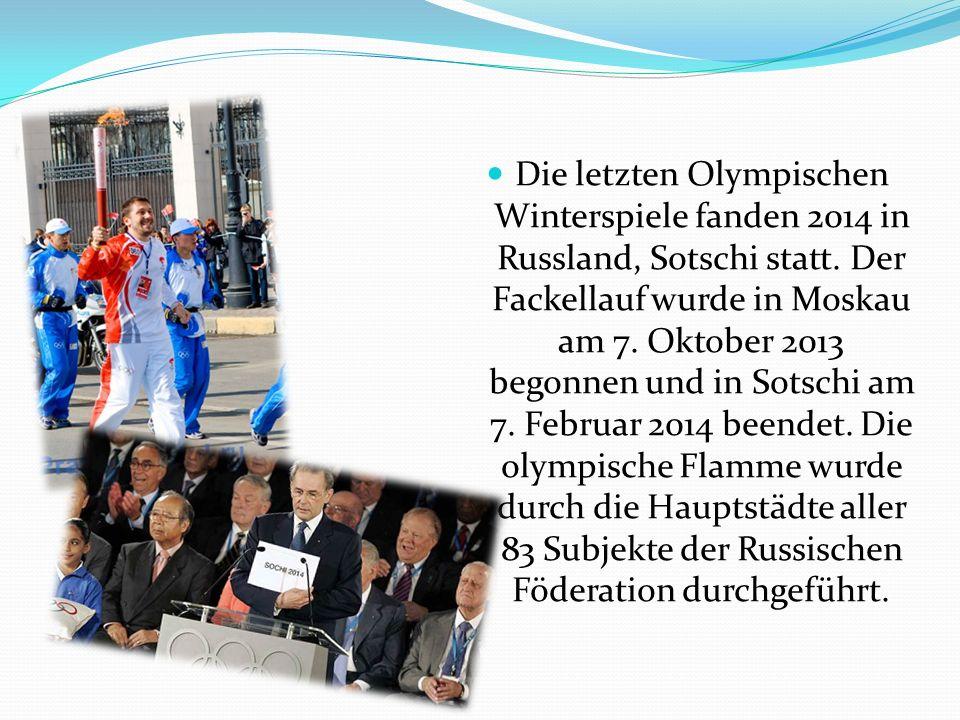 Die letzten Olympischen Winterspiele fanden 2014 in Russland, Sotschi statt.