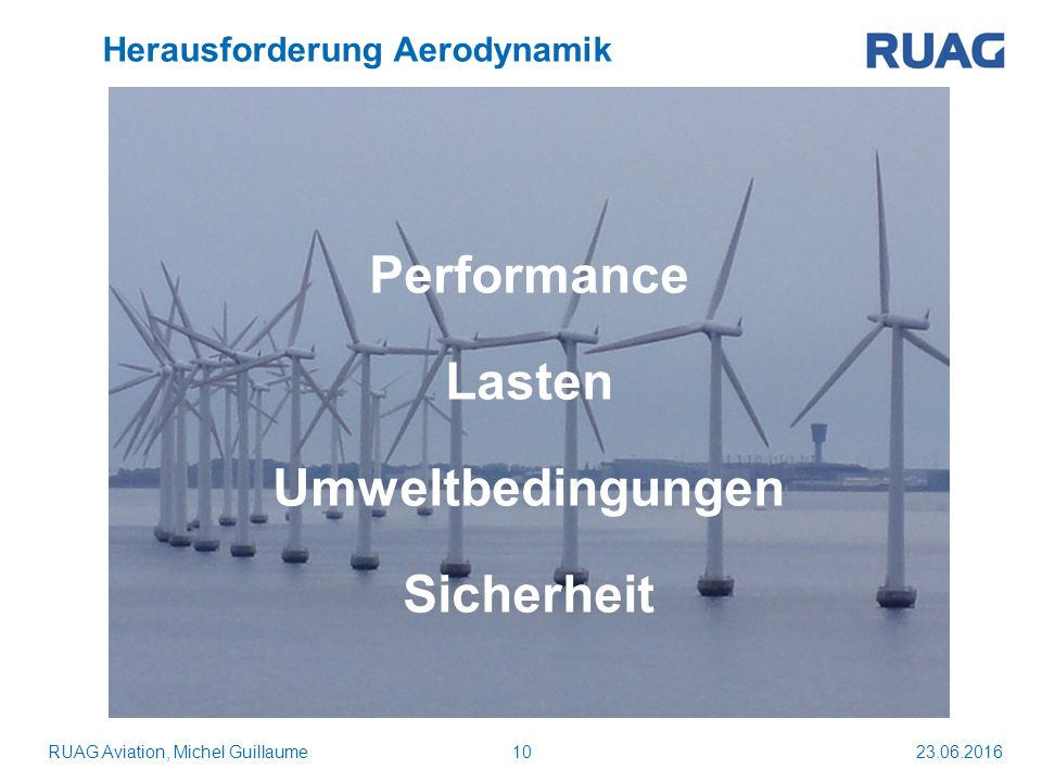 23.06.201610 Herausforderung Aerodynamik RUAG Aviation, Michel Guillaume Performance Lasten Umweltbedingungen Sicherheit