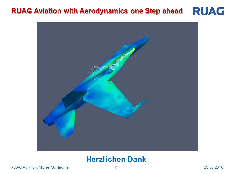 23.06.201611RUAG Aviation, Michel Guillaume RUAG Aviation with Aerodynamics one Step ahead Herzlichen Dank