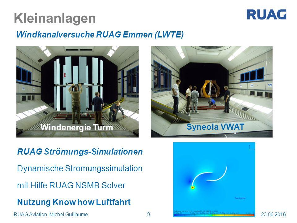 Kleinanlagen 23.06.2016RUAG Aviation, Michel Guillaume9 Windkanalversuche RUAG Emmen (LWTE) Windenergie Turm Syneola VWAT RUAG Strömungs-Simulationen