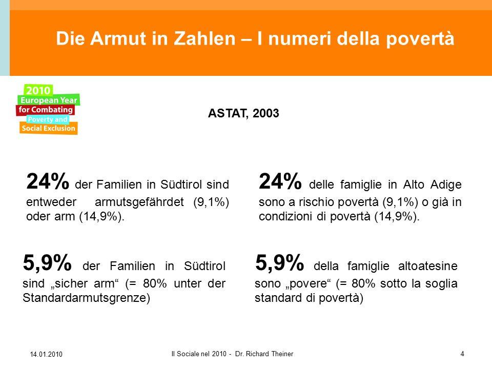 """14.01.2010 Il Sociale nel 2010 - Dr. Richard Theiner4 5,9% der Familien in Südtirol sind """"sicher arm"""" (= 80% unter der Standardarmutsgrenze) 24% der F"""