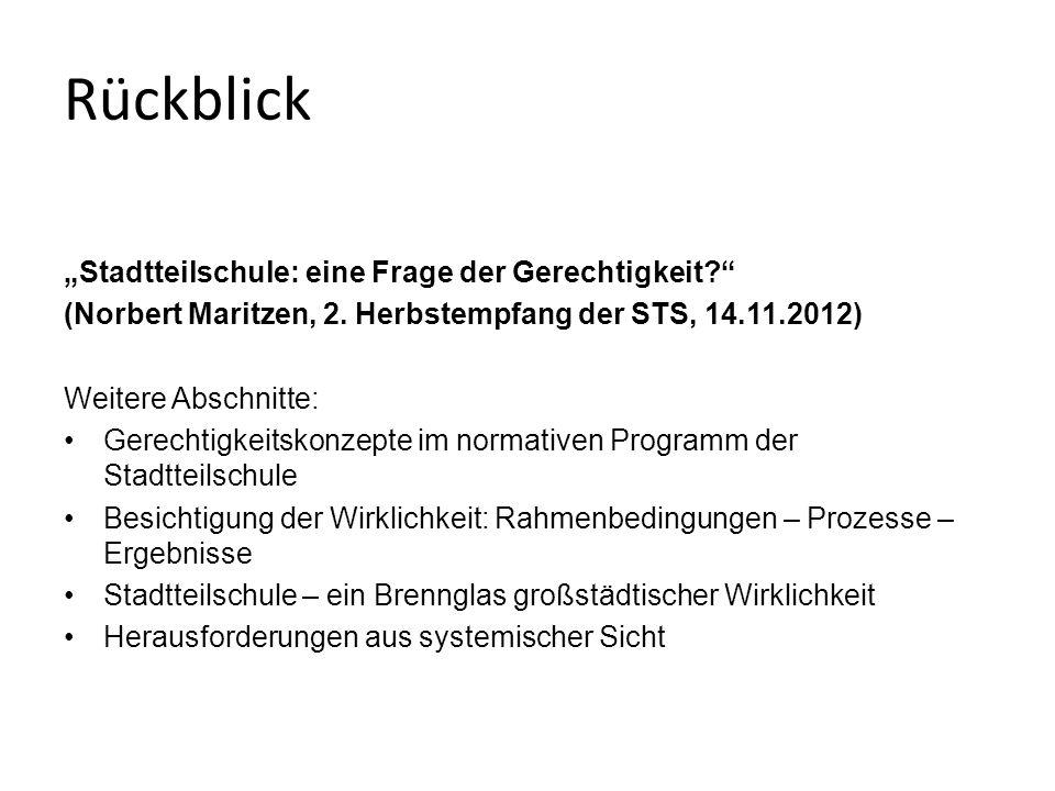 """Rückblick """"Stadtteilschule: eine Frage der Gerechtigkeit (Norbert Maritzen, 2."""