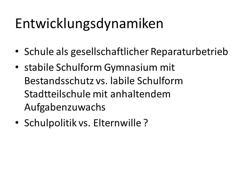 Entwicklungsdynamiken Schule als gesellschaftlicher Reparaturbetrieb stabile Schulform Gymnasium mit Bestandsschutz vs.