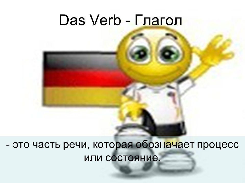Das Verb - Глагол - это часть речи, которая обозначает процесс или состояние.