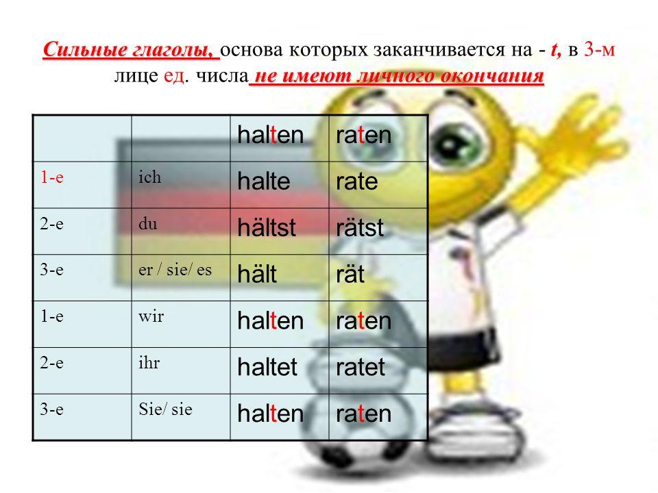 Сильные глаголы, не имеют личного окончания Сильные глаголы, основа которых заканчивается на - t, в 3-м лице ед.