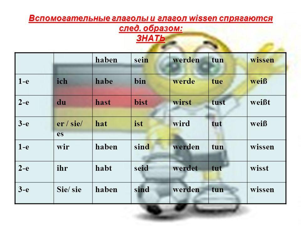 Вспомогательные глаголы и глагол wissen спрягаются след.