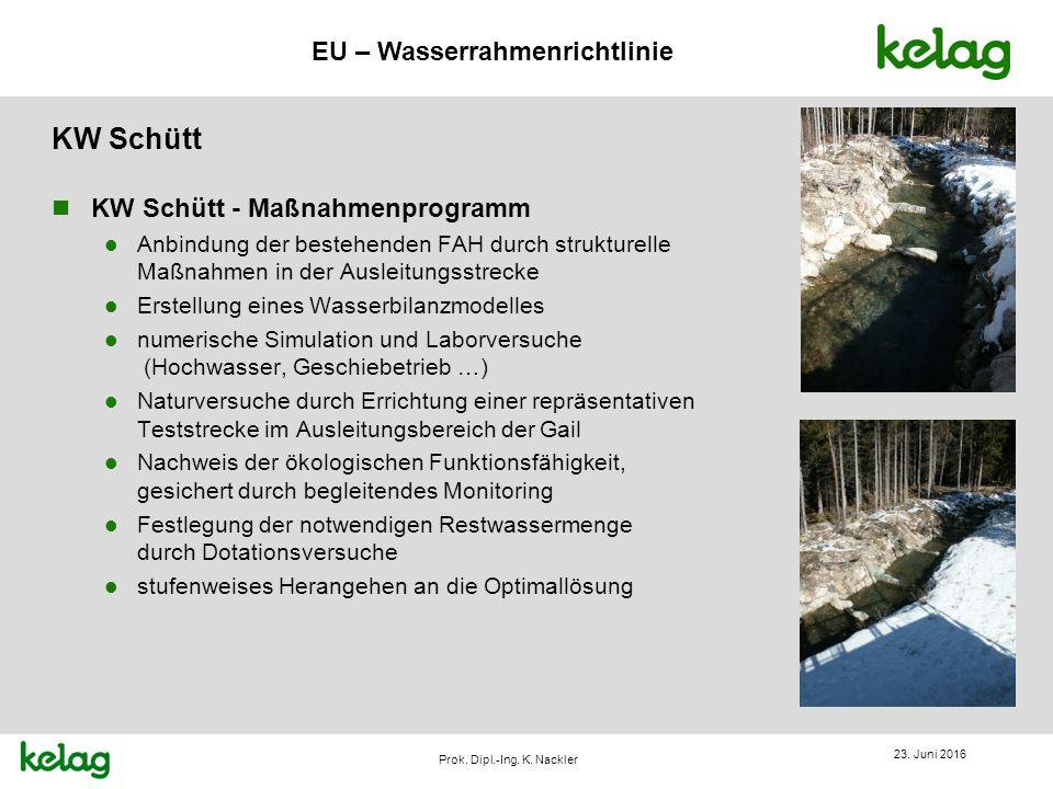 EU – Wasserrahmenrichtlinie Prok. Dipl.-Ing. K. Nackler KW Schütt 23. Juni 2016 n KW Schütt - Maßnahmenprogramm l Anbindung der bestehenden FAH durch
