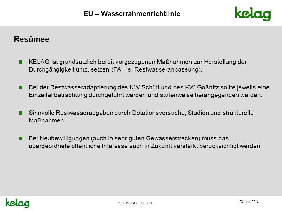 EU – Wasserrahmenrichtlinie Prok. Dipl.-Ing. K. Nackler Resümee 23. Juni 2016 n KELAG ist grundsätzlich bereit vorgezogenen Maßnahmen zur Herstellung