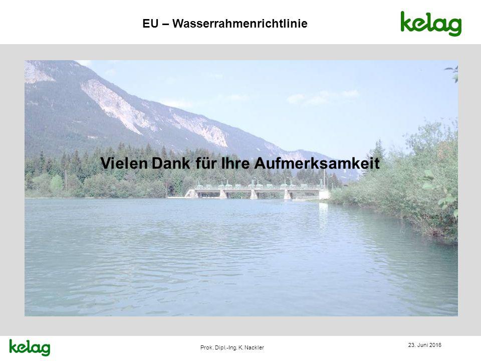EU – Wasserrahmenrichtlinie Prok. Dipl.-Ing. K. Nackler Vielen Dank für Ihre Aufmerksamkeit 23. Juni 2016