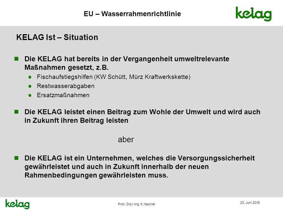 EU – Wasserrahmenrichtlinie Prok. Dipl.-Ing. K. Nackler KELAG Ist – Situation n Die KELAG hat bereits in der Vergangenheit umweltrelevante Maßnahmen g