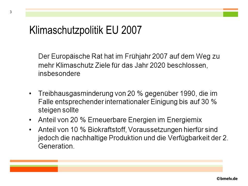 3 Klimaschutzpolitik EU 2007 Der Europäische Rat hat im Frühjahr 2007 auf dem Weg zu mehr Klimaschutz Ziele für das Jahr 2020 beschlossen, insbesondere Treibhausgasminderung von 20 % gegenüber 1990, die im Falle entsprechender internationaler Einigung bis auf 30 % steigen sollte Anteil von 20 % Erneuerbare Energien im Energiemix Anteil von 10 % Biokraftstoff, Voraussetzungen hierfür sind jedoch die nachhaltige Produktion und die Verfügbarkeit der 2.