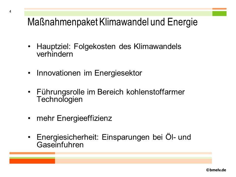 4 Maßnahmenpaket Klimawandel und Energie Hauptziel: Folgekosten des Klimawandels verhindern Innovationen im Energiesektor Führungsrolle im Bereich kohlenstoffarmer Technologien mehr Energieeffizienz Energiesicherheit: Einsparungen bei Öl- und Gaseinfuhren