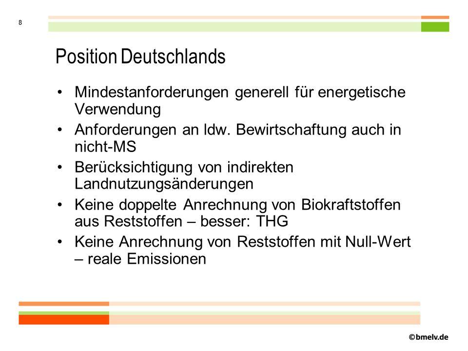 8 Position Deutschlands Mindestanforderungen generell für energetische Verwendung Anforderungen an ldw.
