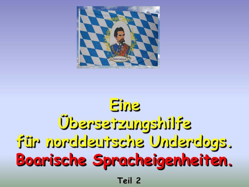 EineÜbersetzungshilfe für norddeutsche Underdogs.Boarische Spracheigenheiten.