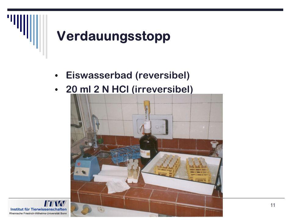 11 Verdauungsstopp Eiswasserbad (reversibel) 20 ml 2 N HCl (irreversibel)