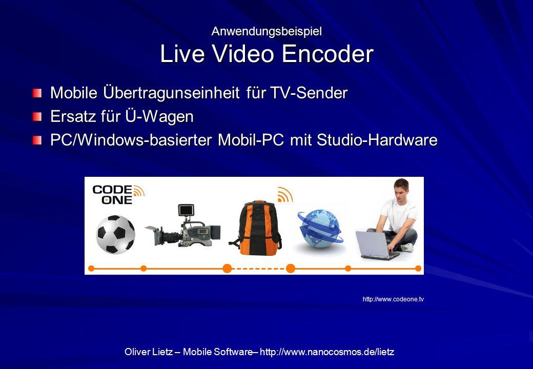 Oliver Lietz – Mobile Software– http://www.nanocosmos.de/lietz Mobile Übertragunseinheit für TV-Sender Ersatz für Ü-Wagen PC/Windows-basierter Mobil-P