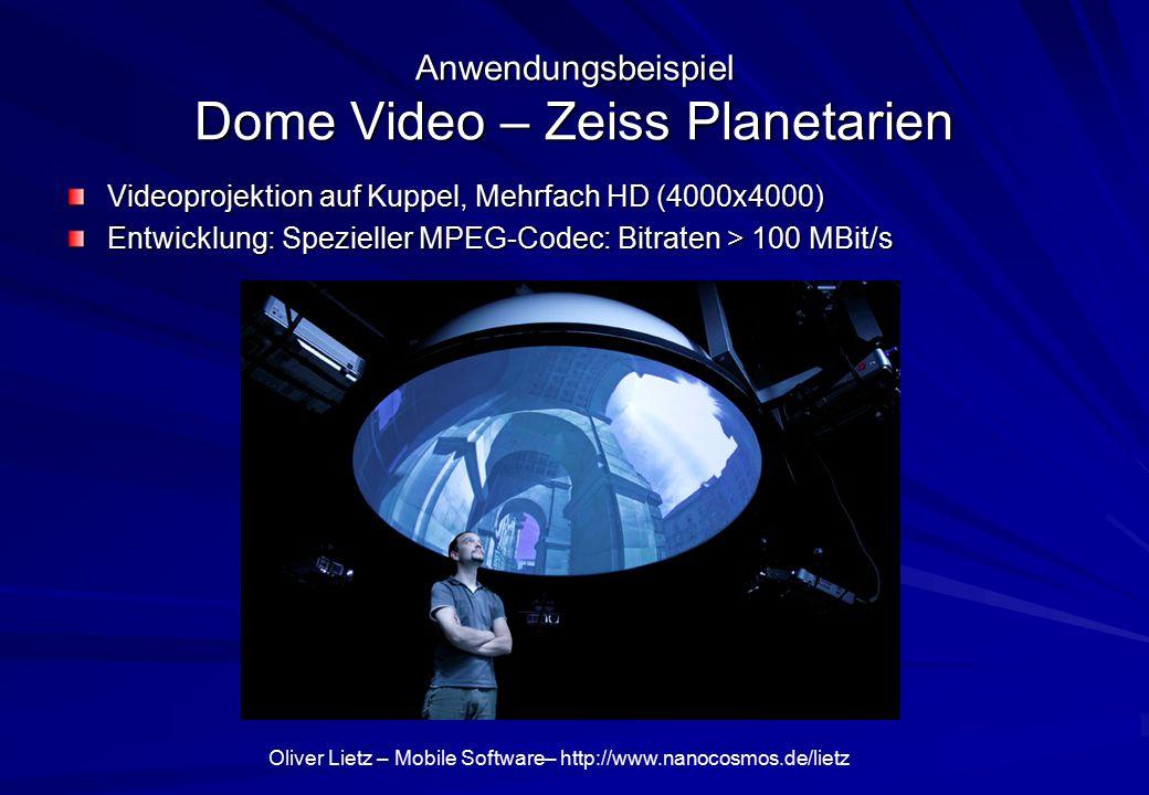 Oliver Lietz – Mobile Software– http://www.nanocosmos.de/lietz Anwendungsbeispiel Dome Video – Zeiss Planetarien Videoprojektion auf Kuppel, Mehrfach HD (4000x4000) Entwicklung: Spezieller MPEG-Codec: Bitraten > 100 MBit/s