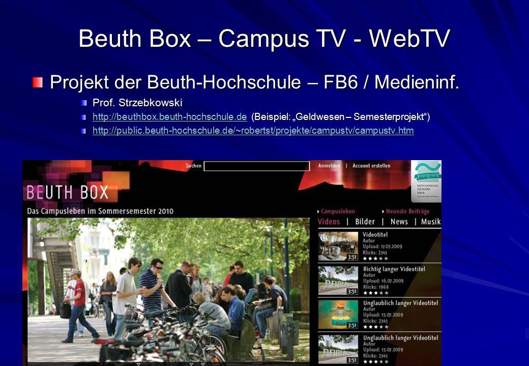Oliver Lietz – Mobile Software– http://www.nanocosmos.de/lietz Beuth Box – Campus TV - WebTV Projekt der Beuth-Hochschule – FB6 / Medieninf. Prof. Str