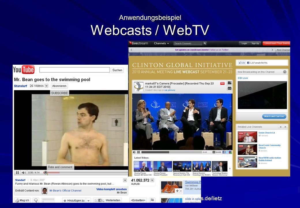 Oliver Lietz – Mobile Software– http://www.nanocosmos.de/lietz Anwendungsbeispiel Webcasts / WebTV