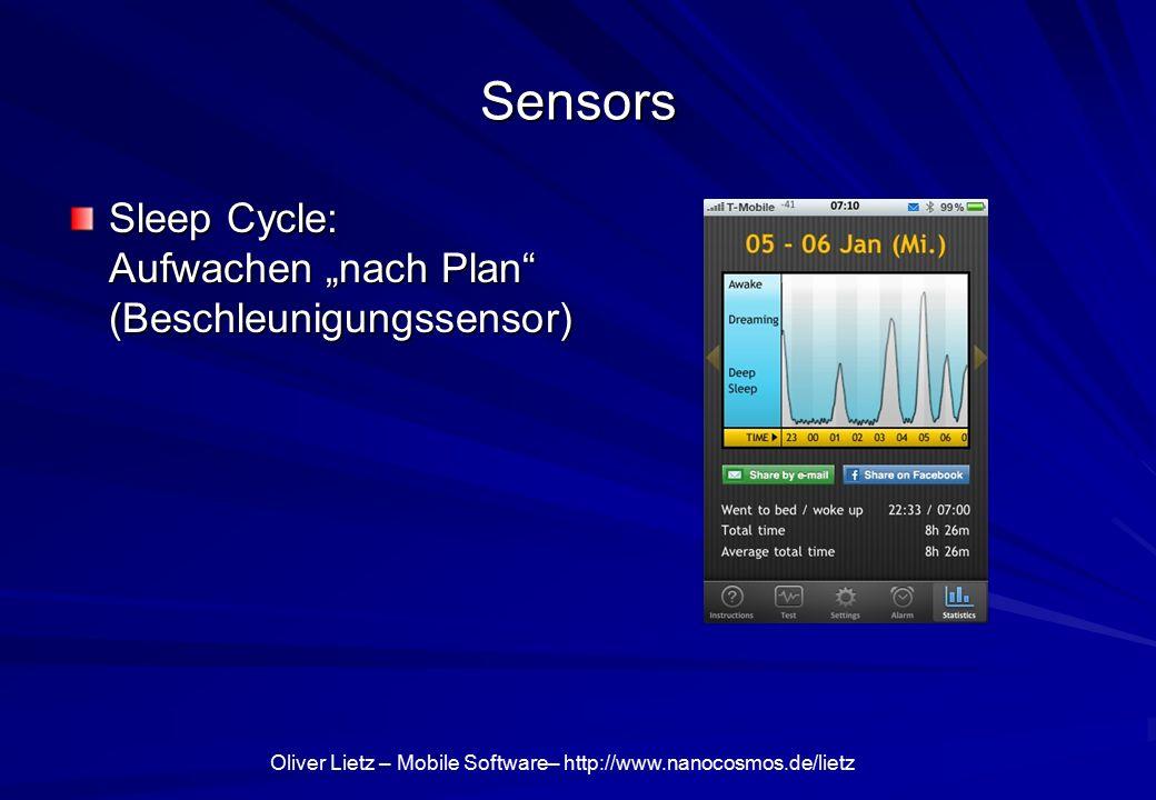 "Oliver Lietz – Mobile Software– http://www.nanocosmos.de/lietz Sensors Sleep Cycle: Aufwachen ""nach Plan (Beschleunigungssensor)"
