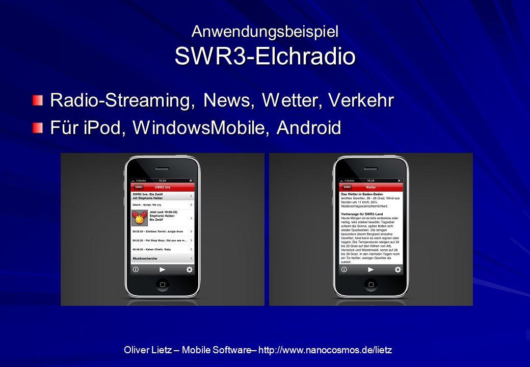 Oliver Lietz – Mobile Software– http://www.nanocosmos.de/lietz Anwendungsbeispiel SWR3-Elchradio Radio-Streaming, News, Wetter, Verkehr Für iPod, WindowsMobile, Android