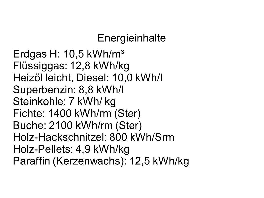 Energieinhalte Erdgas H: 10,5 kWh/m³ Flüssiggas: 12,8 kWh/kg Heizöl leicht, Diesel: 10,0 kWh/l Superbenzin: 8,8 kWh/l Steinkohle: 7 kWh/ kg Fichte: 14
