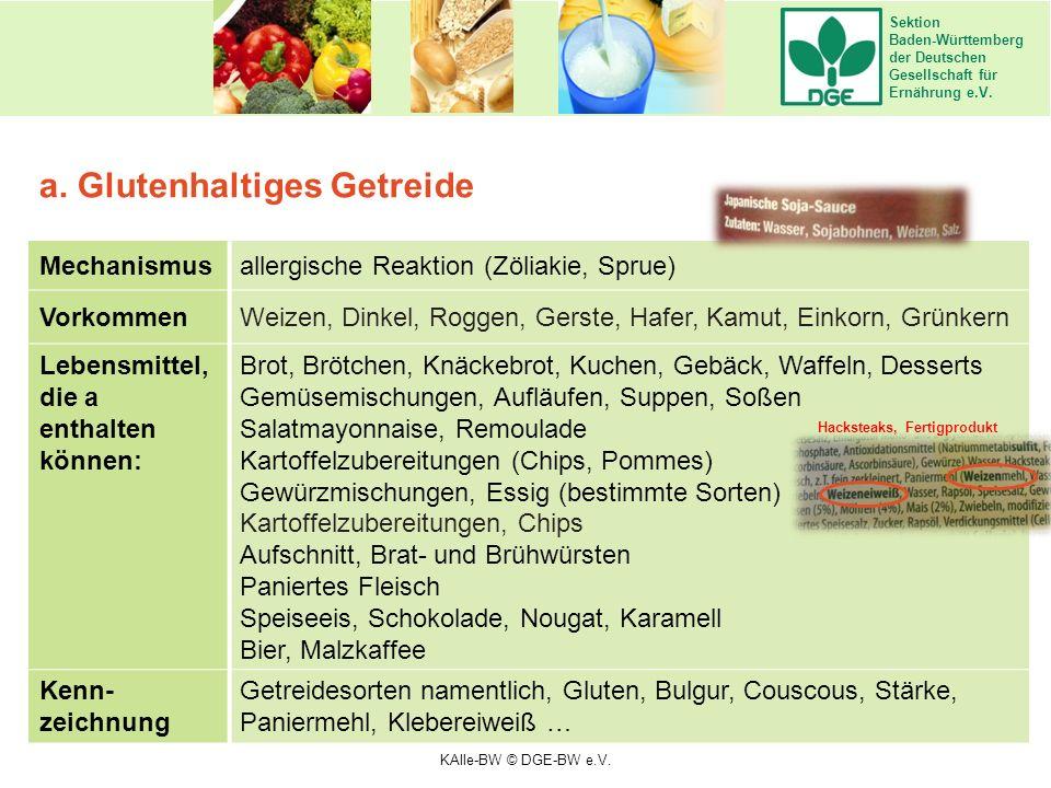 Sektion Baden-Württemberg der Deutschen Gesellschaft für Ernährung e.V. Mechanismusallergische Reaktion (Zöliakie, Sprue) VorkommenWeizen, Dinkel, Rog