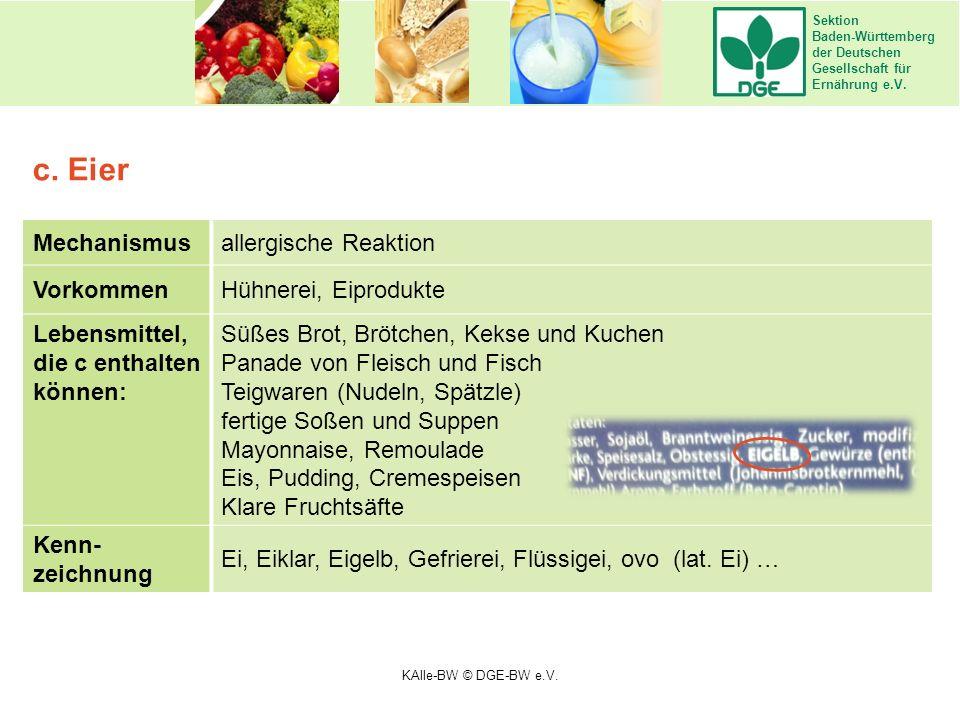 Sektion Baden-Württemberg der Deutschen Gesellschaft für Ernährung e.V. Mechanismusallergische Reaktion VorkommenHühnerei, Eiprodukte Lebensmittel, di