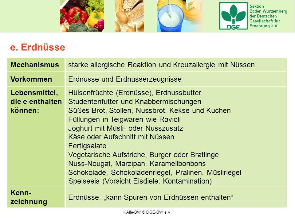 Sektion Baden-Württemberg der Deutschen Gesellschaft für Ernährung e.V. Mechanismusstarke allergische Reaktion und Kreuzallergie mit Nüssen VorkommenE