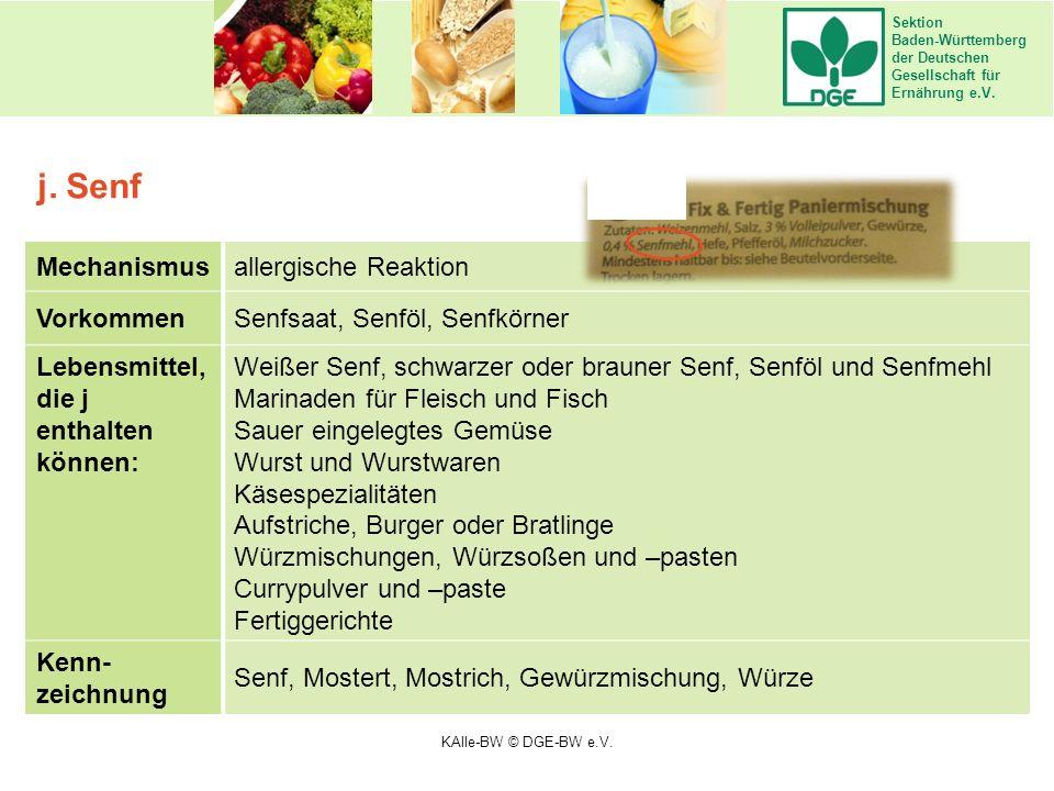 Sektion Baden-Württemberg der Deutschen Gesellschaft für Ernährung e.V. Mechanismusallergische Reaktion VorkommenSenfsaat, Senföl, Senfkörner Lebensmi