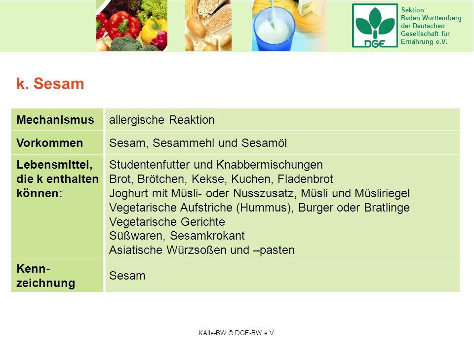 Sektion Baden-Württemberg der Deutschen Gesellschaft für Ernährung e.V. Mechanismusallergische Reaktion VorkommenSesam, Sesammehl und Sesamöl Lebensmi