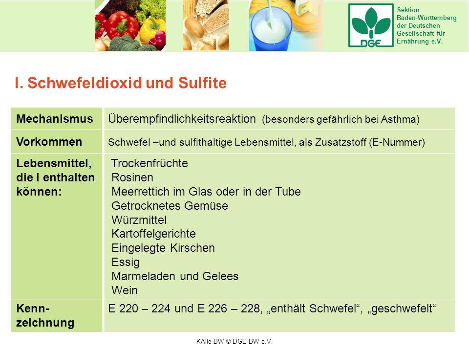 Sektion Baden-Württemberg der Deutschen Gesellschaft für Ernährung e.V. MechanismusÜberempfindlichkeitsreaktion (besonders gefährlich bei Asthma) Vork