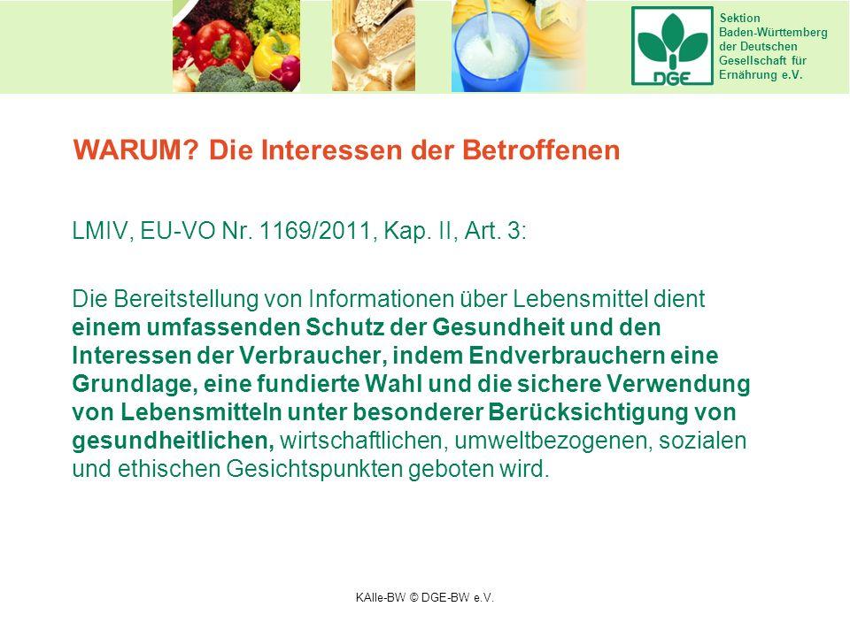 Sektion Baden-Württemberg der Deutschen Gesellschaft für Ernährung e.V. LMIV, EU-VO Nr. 1169/2011, Kap. II, Art. 3: Die Bereitstellung von Information