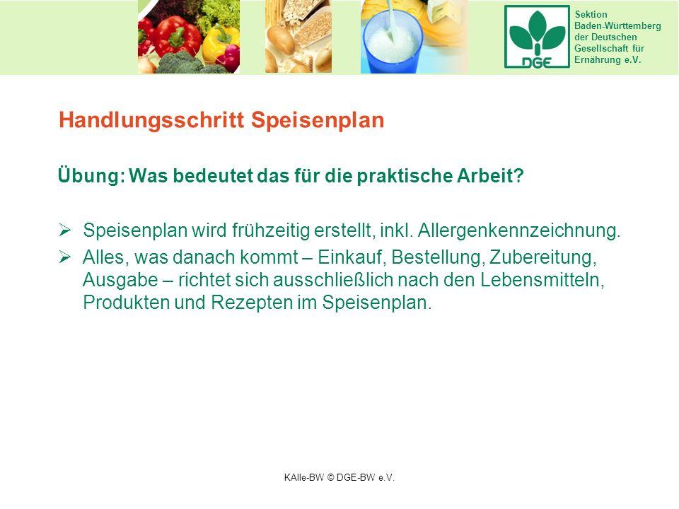 Sektion Baden-Württemberg der Deutschen Gesellschaft für Ernährung e.V. Handlungsschritt Speisenplan Übung: Was bedeutet das für die praktische Arbeit