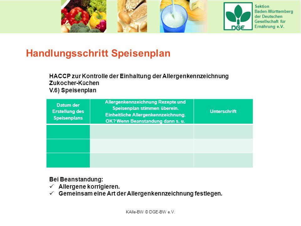 Sektion Baden-Württemberg der Deutschen Gesellschaft für Ernährung e.V. Handlungsschritt Speisenplan HACCP zur Kontrolle der Einhaltung der Allergenke