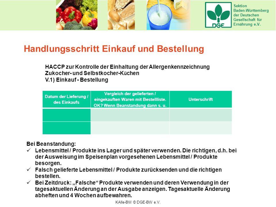 Sektion Baden-Württemberg der Deutschen Gesellschaft für Ernährung e.V. Handlungsschritt Einkauf und Bestellung HACCP zur Kontrolle der Einhaltung der