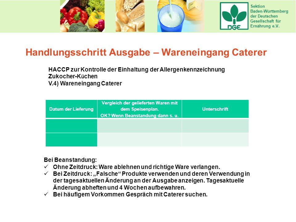 Sektion Baden-Württemberg der Deutschen Gesellschaft für Ernährung e.V. Handlungsschritt Ausgabe – Wareneingang Caterer HACCP zur Kontrolle der Einhal