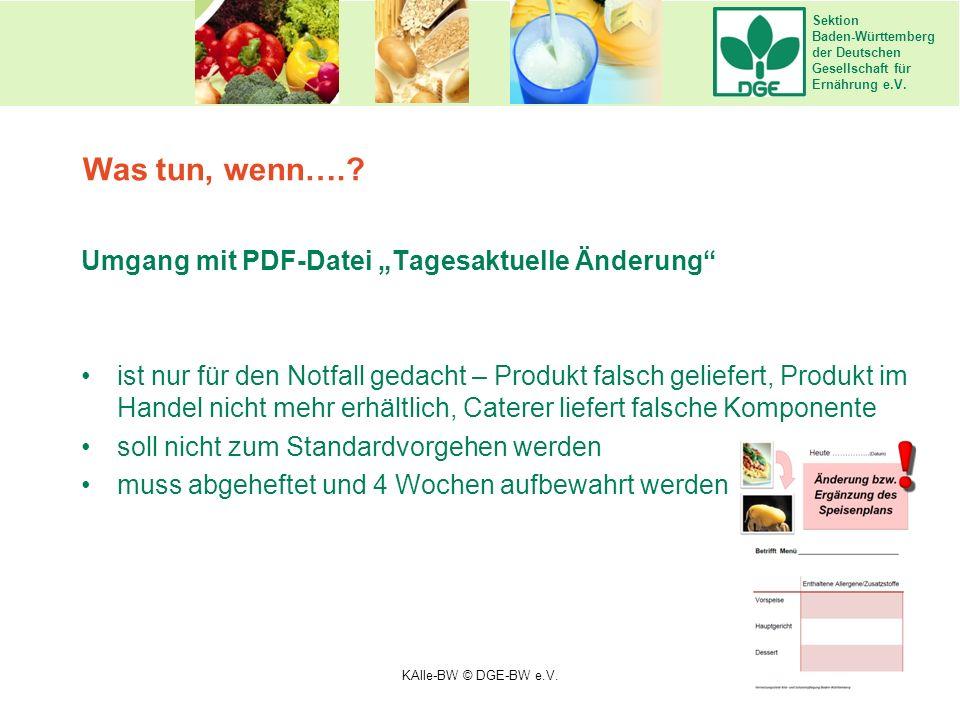 """Sektion Baden-Württemberg der Deutschen Gesellschaft für Ernährung e.V. Umgang mit PDF-Datei """"Tagesaktuelle Änderung"""" ist nur für den Notfall gedacht"""
