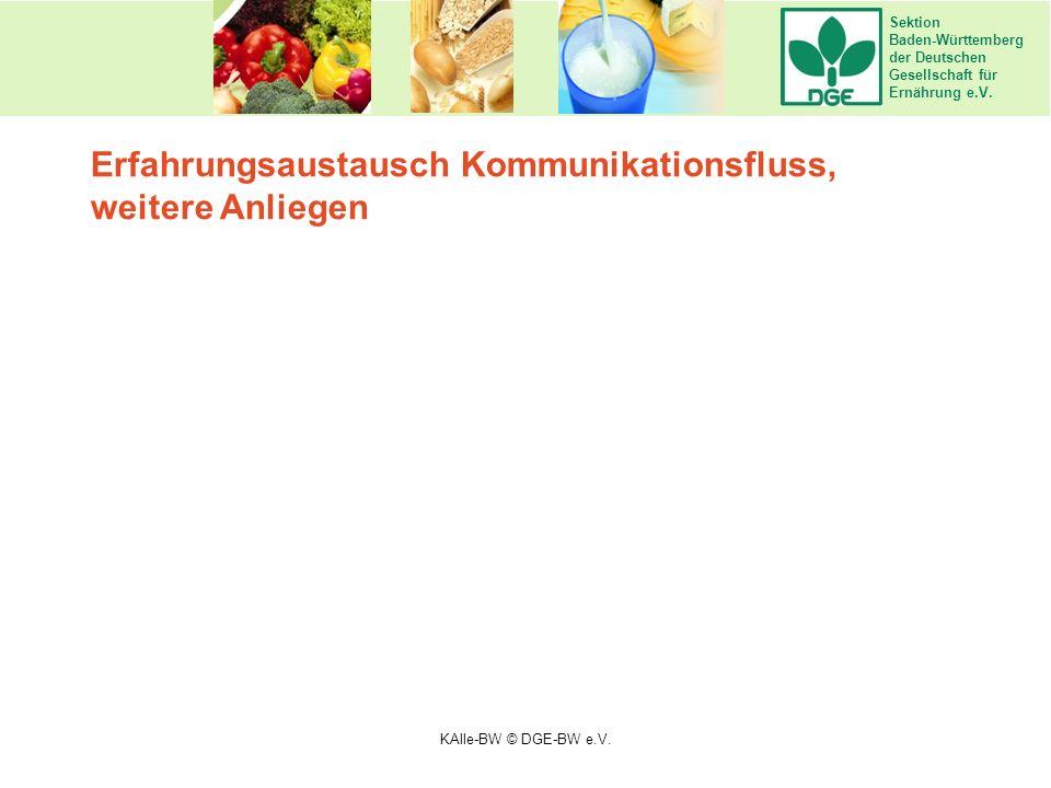Sektion Baden-Württemberg der Deutschen Gesellschaft für Ernährung e.V. Erfahrungsaustausch Kommunikationsfluss, weitere Anliegen Olivenöl KAlle-BW ©