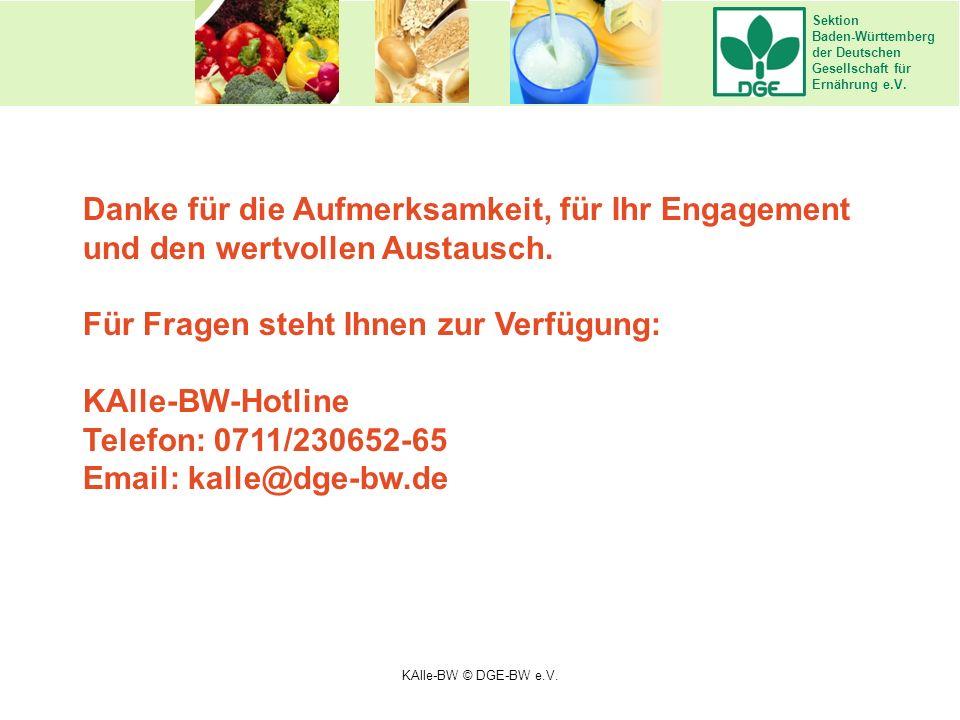 Sektion Baden-Württemberg der Deutschen Gesellschaft für Ernährung e.V. Danke für die Aufmerksamkeit, für Ihr Engagement und den wertvollen Austausch.