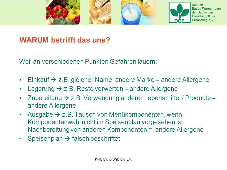 Sektion Baden-Württemberg der Deutschen Gesellschaft für Ernährung e.V. Weil an verschiedenen Punkten Gefahren lauern: Einkauf  z.B. gleicher Name, a