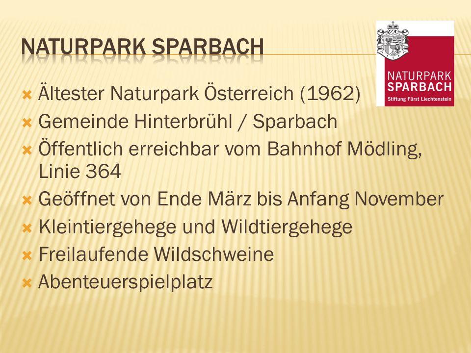 Ältester Naturpark Österreich (1962)  Gemeinde Hinterbrühl / Sparbach  Öffentlich erreichbar vom Bahnhof Mödling, Linie 364  Geöffnet von Ende Mä