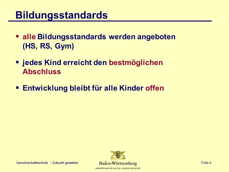 Folie 6 Gemeinschaftsschule – Zukunft gestalten Bildungsstandards  alle Bildungsstandards werden angeboten (HS, RS, Gym)  jedes Kind erreicht den be