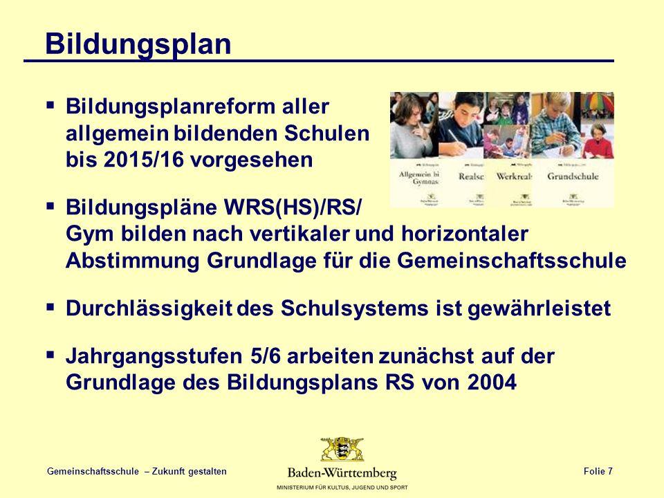 Folie 7 Gemeinschaftsschule – Zukunft gestalten Bildungsplan  Bildungsplanreform aller allgemein bildenden Schulen bis 2015/16 vorgesehen  Bildungsp