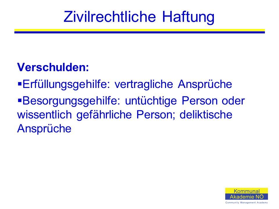 Zivilrechtliche Haftung Verschulden:  Erfüllungsgehilfe: vertragliche Ansprüche  Besorgungsgehilfe: untüchtige Person oder wissentlich gefährliche P