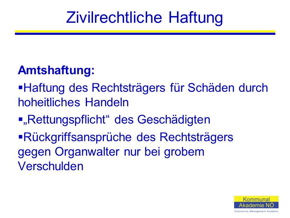 """Zivilrechtliche Haftung Amtshaftung:  Haftung des Rechtsträgers für Schäden durch hoheitliches Handeln  """"Rettungspflicht"""" des Geschädigten  Rückgri"""