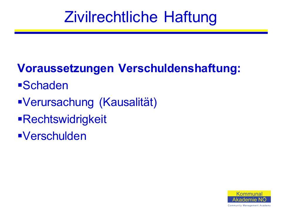 Zivilrechtliche Haftung Voraussetzungen Verschuldenshaftung:  Schaden  Verursachung (Kausalität)  Rechtswidrigkeit  Verschulden