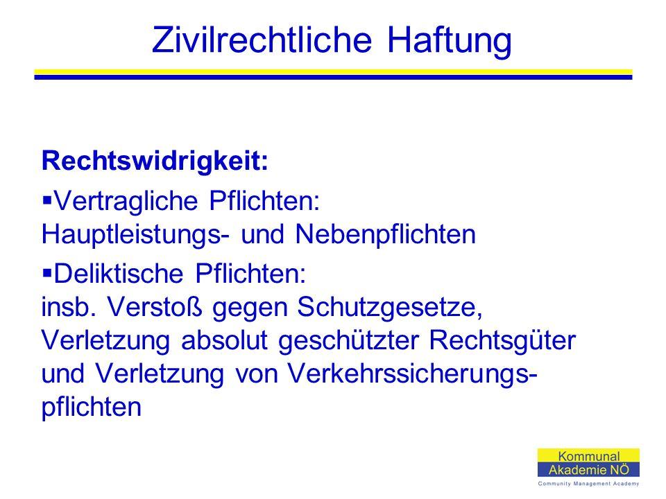 Zivilrechtliche Haftung Rechtswidrigkeit:  Vertragliche Pflichten: Hauptleistungs- und Nebenpflichten  Deliktische Pflichten: insb. Verstoß gegen Sc